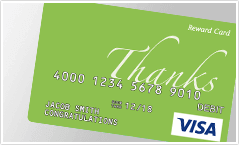"Predesigned ""Thank You"" prepaid Visa gift card"
